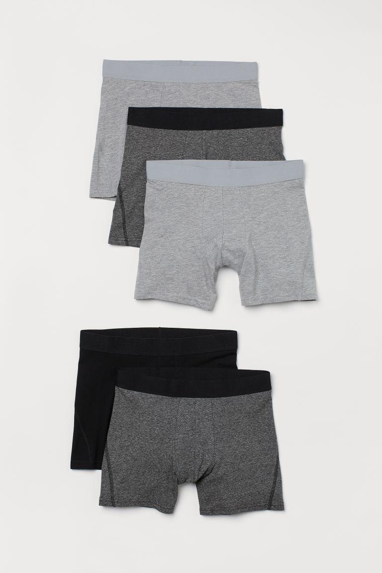 H & M - 5件入中版四角褲 - 灰色