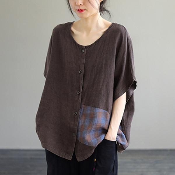 純棉單排扣短袖襯衫 拼接圓領套頭上衣/2色-夢想家-0512
