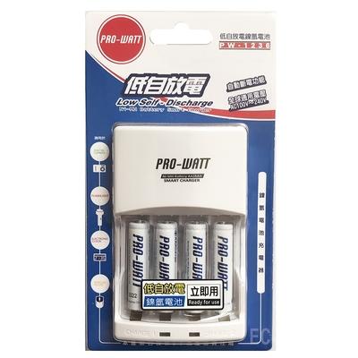 (2入優惠組) PRO-WATT 鎳氫電池充電器 PW-1236-75-4 (含4號電池x4)