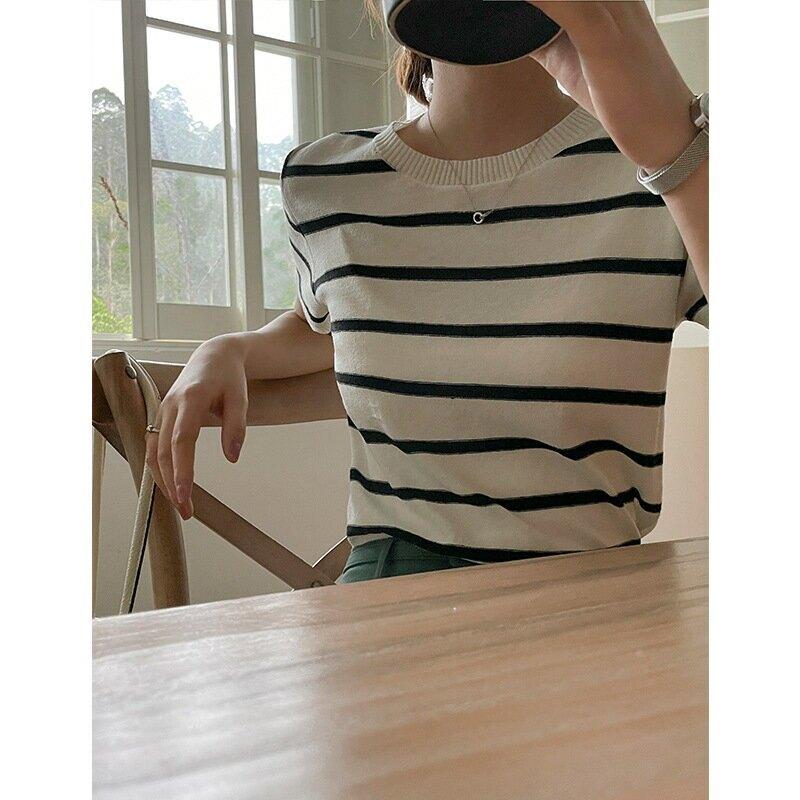 夏季基礎款條紋套頭針織衫女薄款透氣亞麻短袖圓領上衣短款