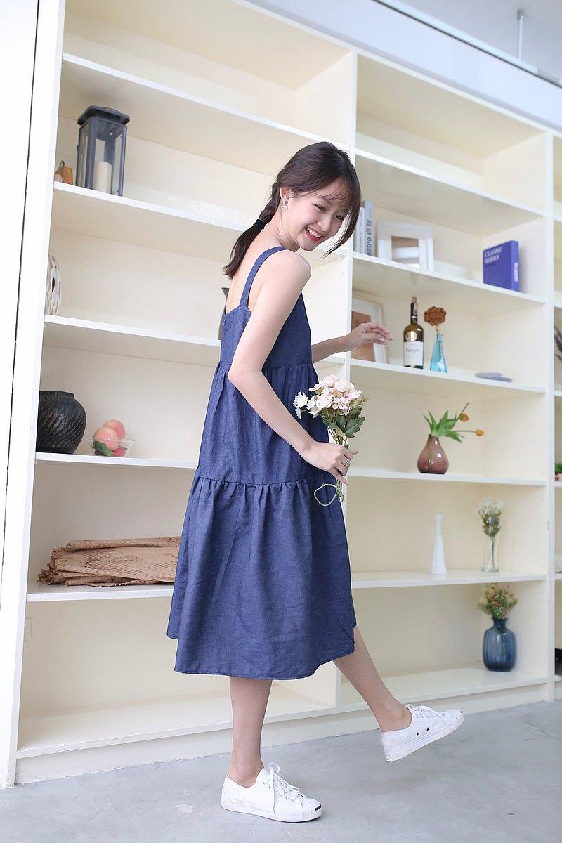 玉蘭連衣裙-深藍色(包括色帶)