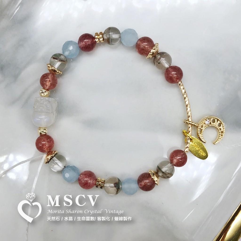 |MSCV|月光石貔貅 x 綠幽靈 x 海藍寶 x 草莓晶 x 貴人運 x 吸引愛情 x 招好桃花 x 天然水晶手鍊