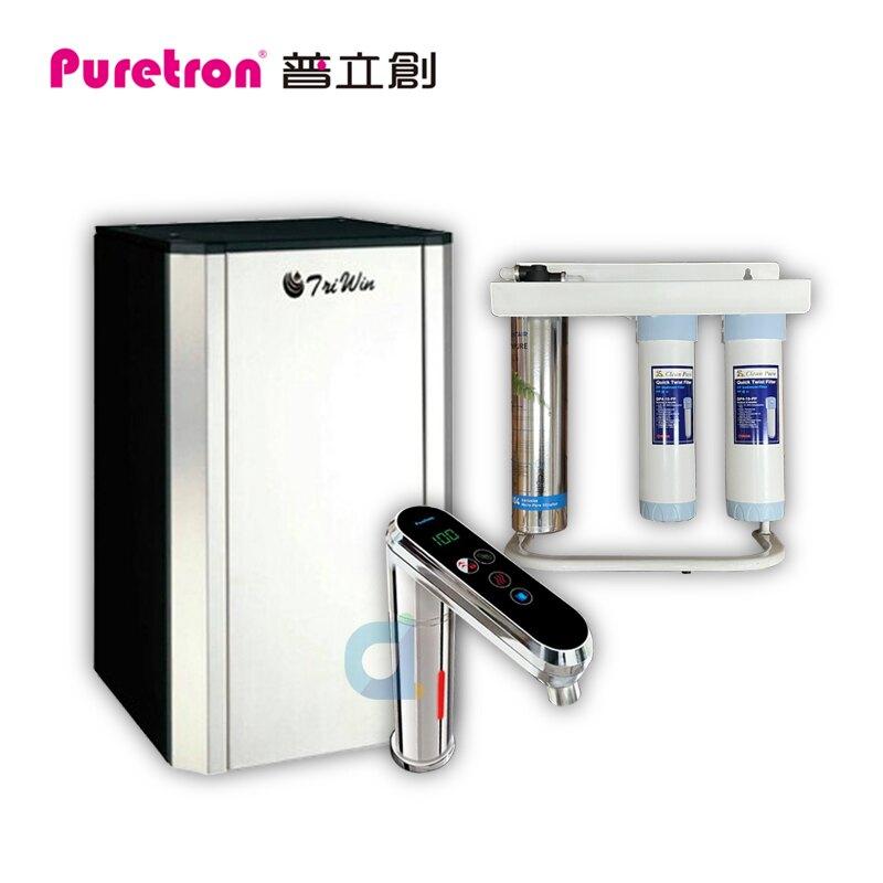 最新款PURETRON普立創TPH-689A2 觸控型溫控冷熱雙溫櫥下飲水機 搭配愛惠浦三道快拆式除鉛抑垢生飲淨水器 大大淨水