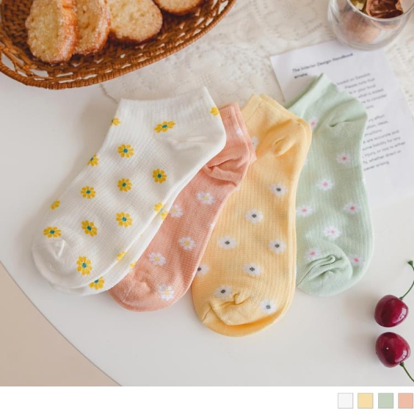 《ZB1188》格紋編織繽紛花朵短襪 OrangeBear