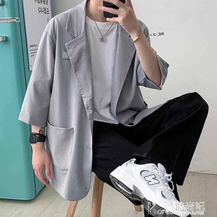 痞帥休閒西服外套男寬鬆韓版潮流夏季薄款港風七分袖小單西裝