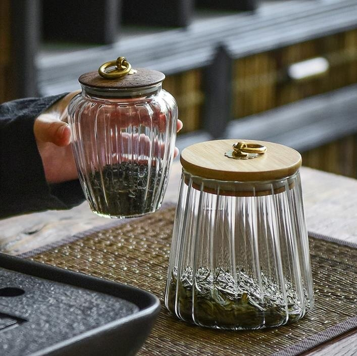 樂天精品 快速出貨 茶葉罐 玻璃密封儲物罐子五谷雜糧透明瓶子茶葉罐帶蓋花茶收納盒大