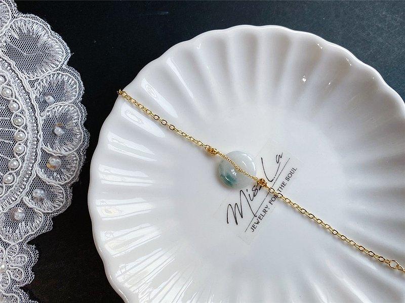 緬甸玉A貨翡翠 飄花平安扣 設計款手鍊 禮物 天然石 客製化 閨蜜