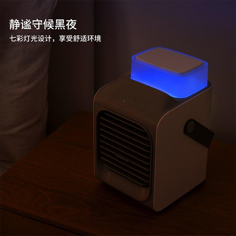 小型搖頭噴霧風扇迷你空調扇水冷小風扇超靜音usb充電型夏天宿舍床上桌面辦公室無聲桌上大風力制冷降溫神器