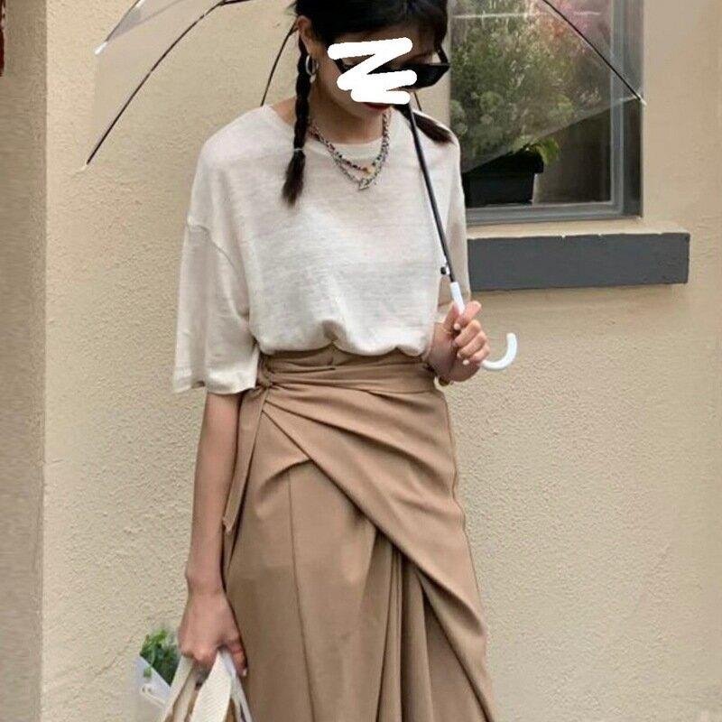 夏季新款韓版ins亞麻透氣基礎款純色圓領短袖T恤女寬鬆顯瘦上衣