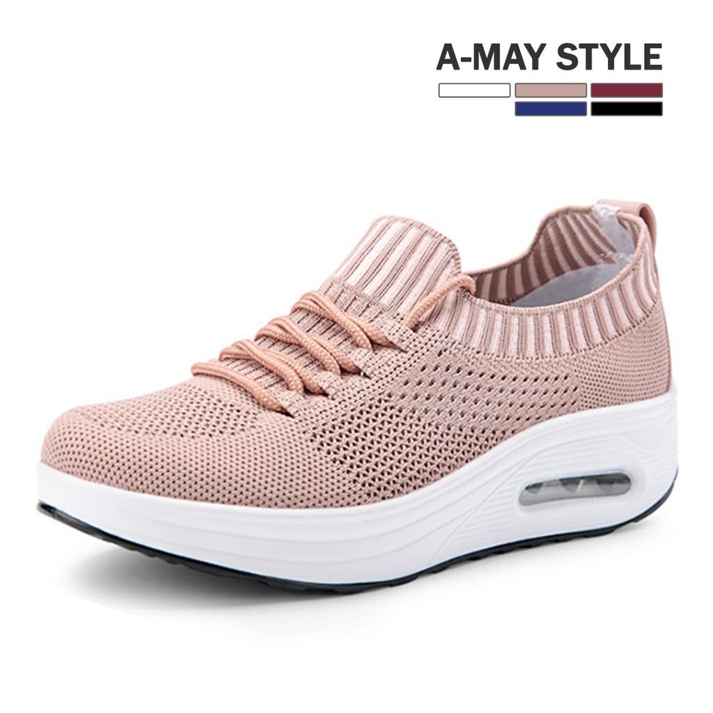 艾美時尚 休閒鞋 針織襪套厚底氣墊健走鞋(36-40碼。共5色) XM198355
