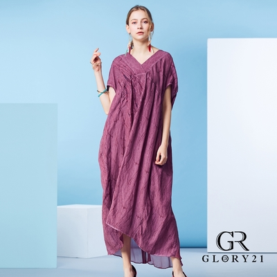 【GLORY21】絲質寬版V領剪裁長洋裝-酒紅