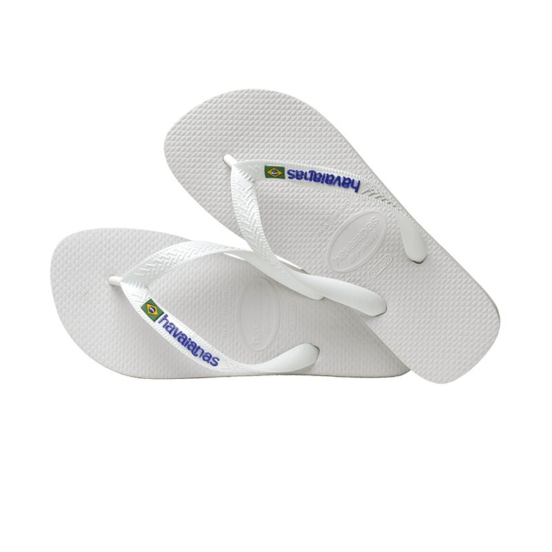 Havaianas 哈瓦仕 Brasil Logo 巴西國旗 白 拖鞋 男款 NO.H3410【新竹皇家 4110850-0001U】