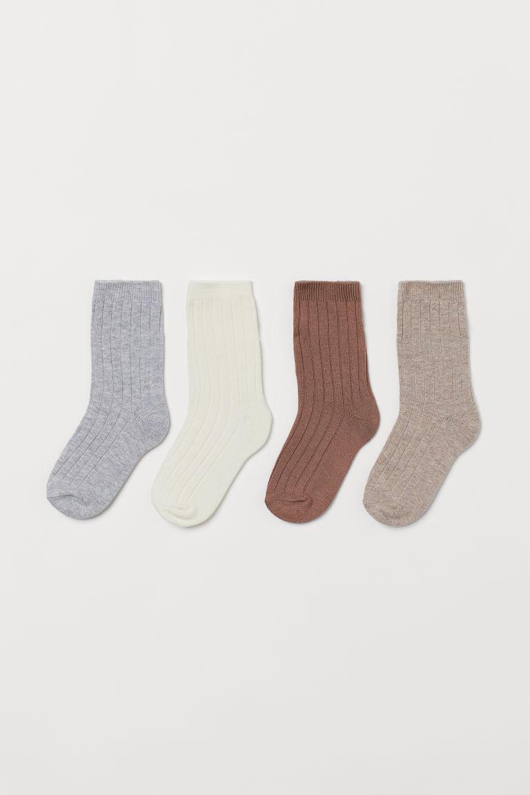 H & M - 4雙入襪子 - 米黃色
