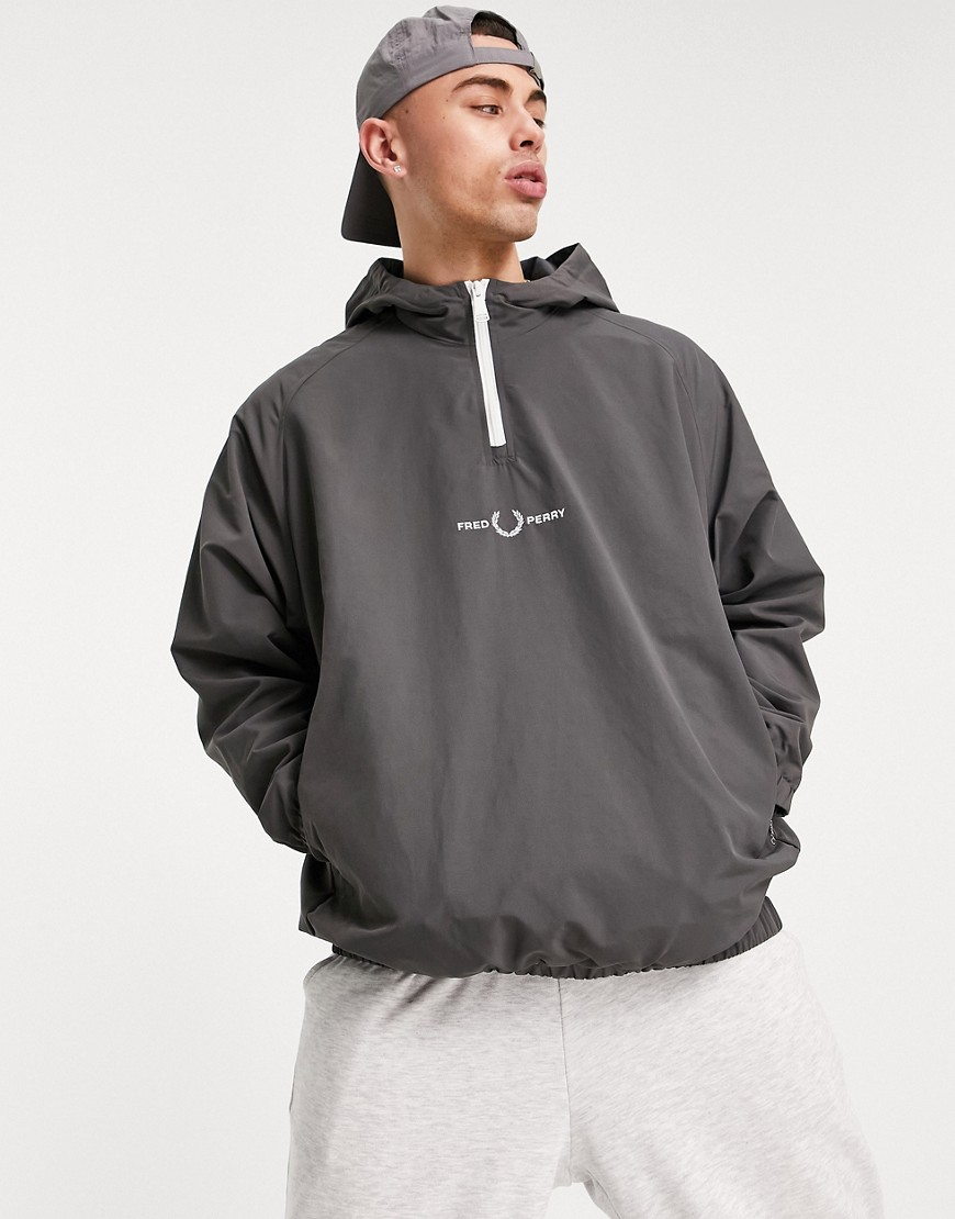 Fred Perry embroidered half zip jacket in charcoal-Grey
