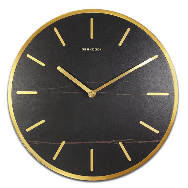 12吋 沉穩簡約 北歐風 餐廳客廳臥室 靜音 黑岩板 金屬外框 圓掛鐘 - 黑金色