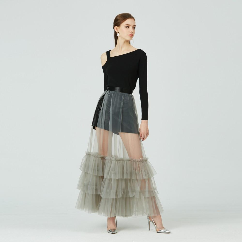 【預購】Sugar Lily 微光栩栩透膚網紗外罩長裙