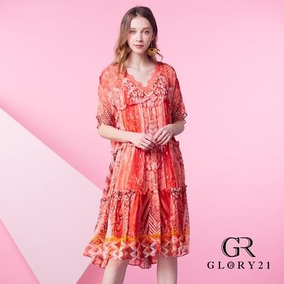 【GLORY21】雪紡V領剪裁三層蜜拷傘狀洋裝-粉紅
