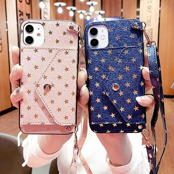 蘋果 iPhone 12 Pro Max 12 Mini i12 Pro 滿天星 插卡殼 掛繩 背帶 全包邊 保護殼