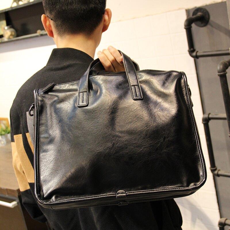 公事包手提包男公文包休閒商務單肩斜挎包潮牌新款橫款皮質男士辦公包 bw3285