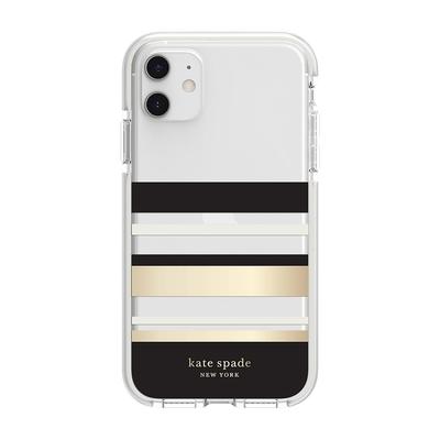 【kate Spade】iPhone 11 手機防摔保護殼/套-黑金條紋