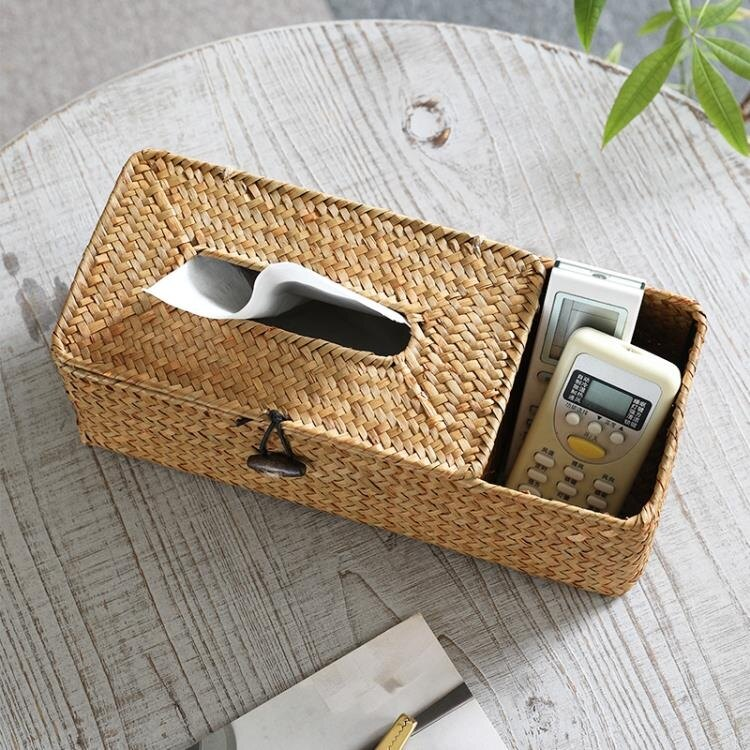 Kens紙巾盒家用 抽紙盒草編 客廳茶幾多功能收納盒遙控器收納創意 黛尼時尚精品