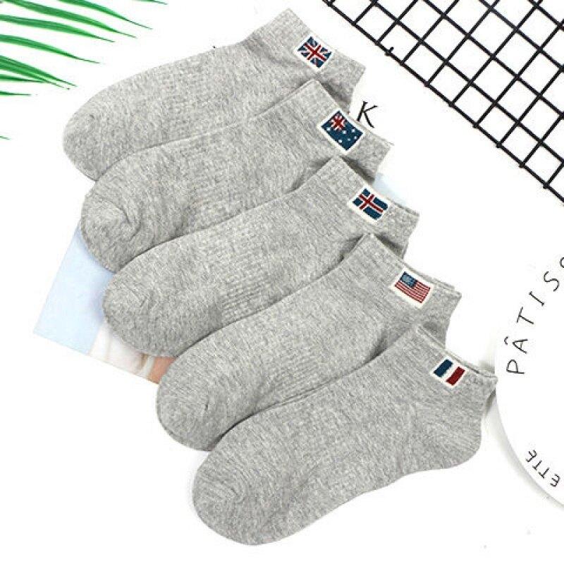 春夏薄款基礎款短襪女中性黑色白灰中筒襪純色棉質透氣四季款