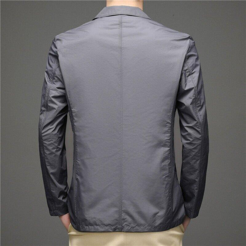 2021春夏新款輕薄夾克男商務休閒單層透氣小西裝防曬西服外套男