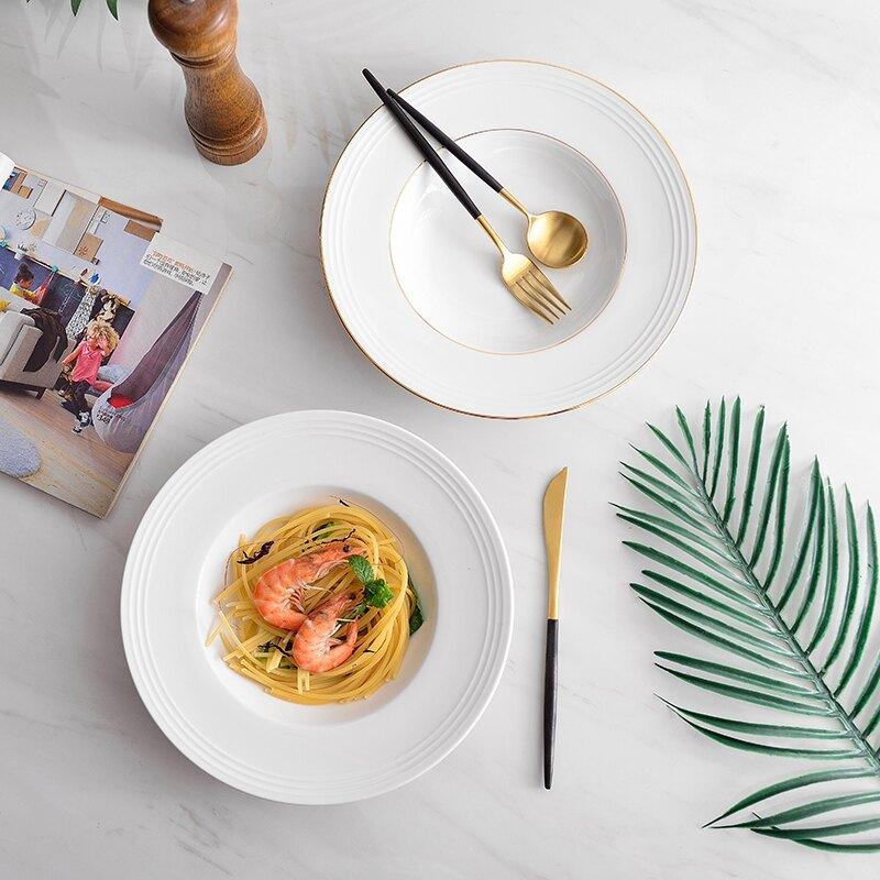 限時特賣 麥兜金邊意麵盤子 ins家用簡約草帽盤 北歐早餐西餐盤深盤創意菜盤湯盤