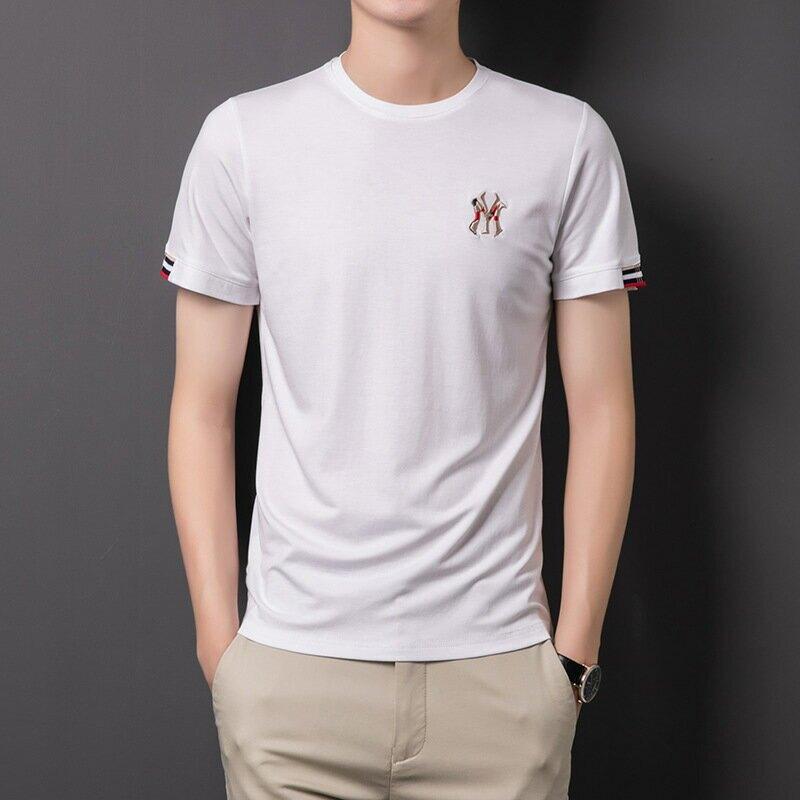 2021新款圓領男士T恤時尚簡約半袖體恤衫休閒刺繡男裝上衣
