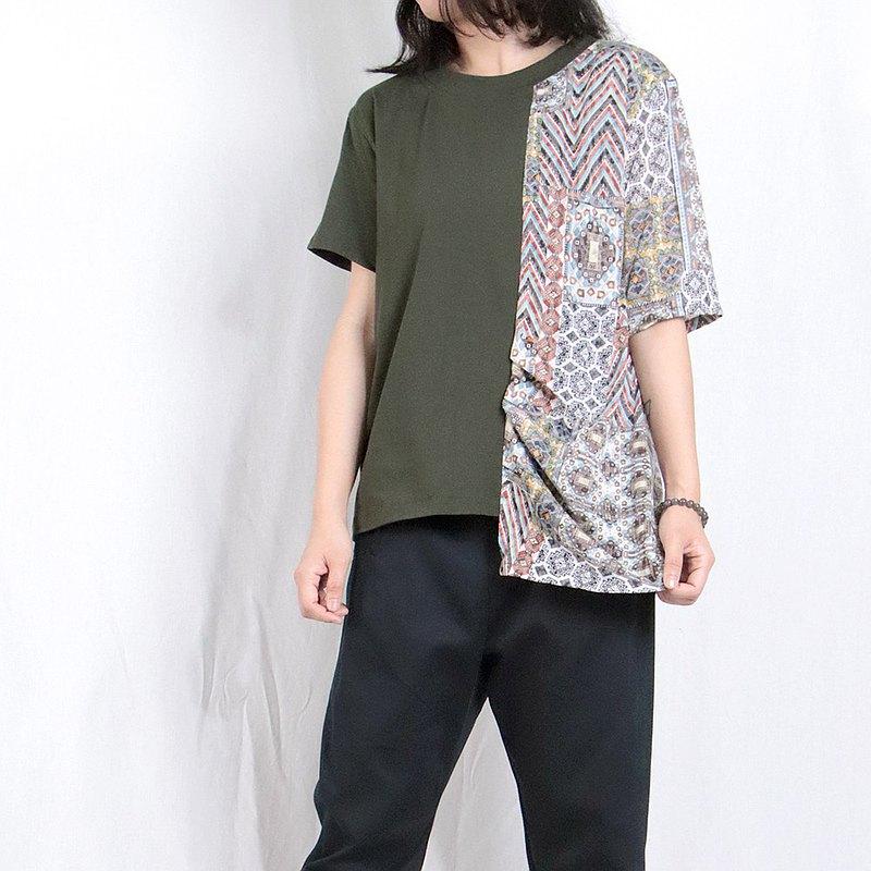 軍綠 - 單邊拼花短袖T#A1131