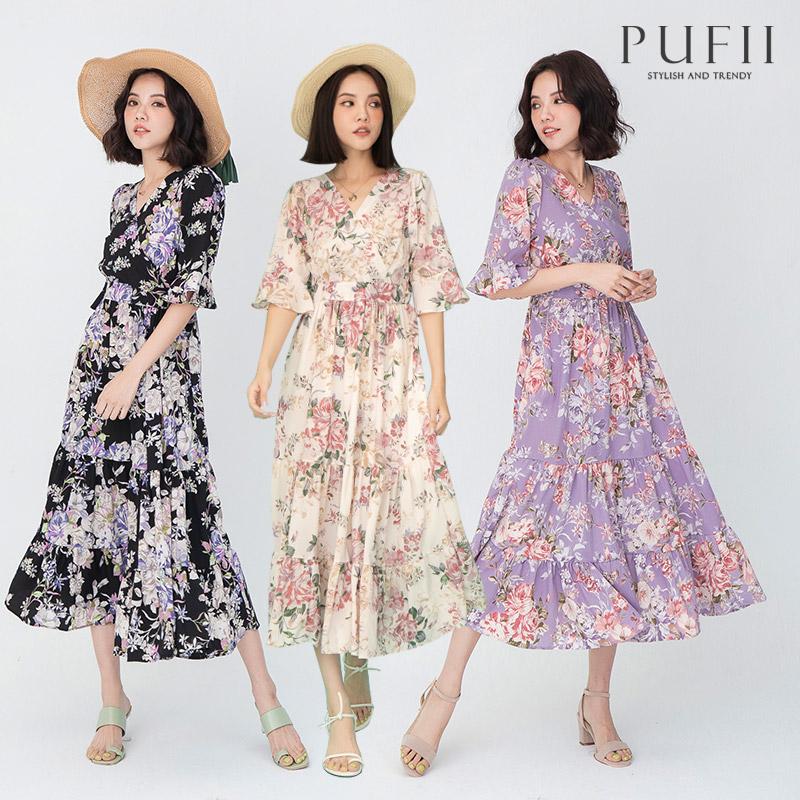 ◆限量現貨◆PUFII-洋裝 V領荷葉袖雪紡碎花洋裝- 0429 現+預 春【CP20290】