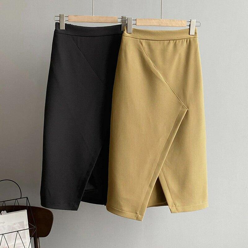 2021夏季純色氣質半身裙女韓開叉黑色中款高腰顯瘦A字裙