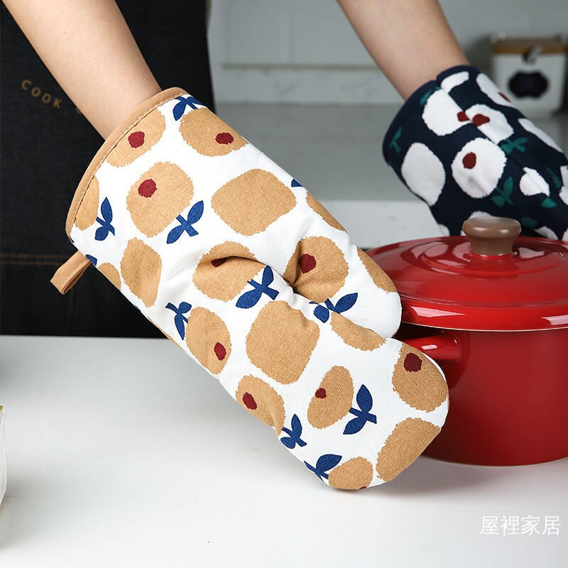防燙手套 日式 小花布藝 鍋帽廚房三角鍋抓 可懸掛加厚隔熱墊 烤箱防燙手套