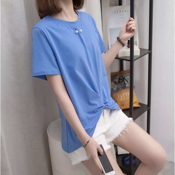 上衣 短袖T 寬鬆 中大尺碼M-3XL寬鬆寬鬆顯瘦短袖T卹胖妹妹純棉圓領上衣MB137A-9836.愛尚依人