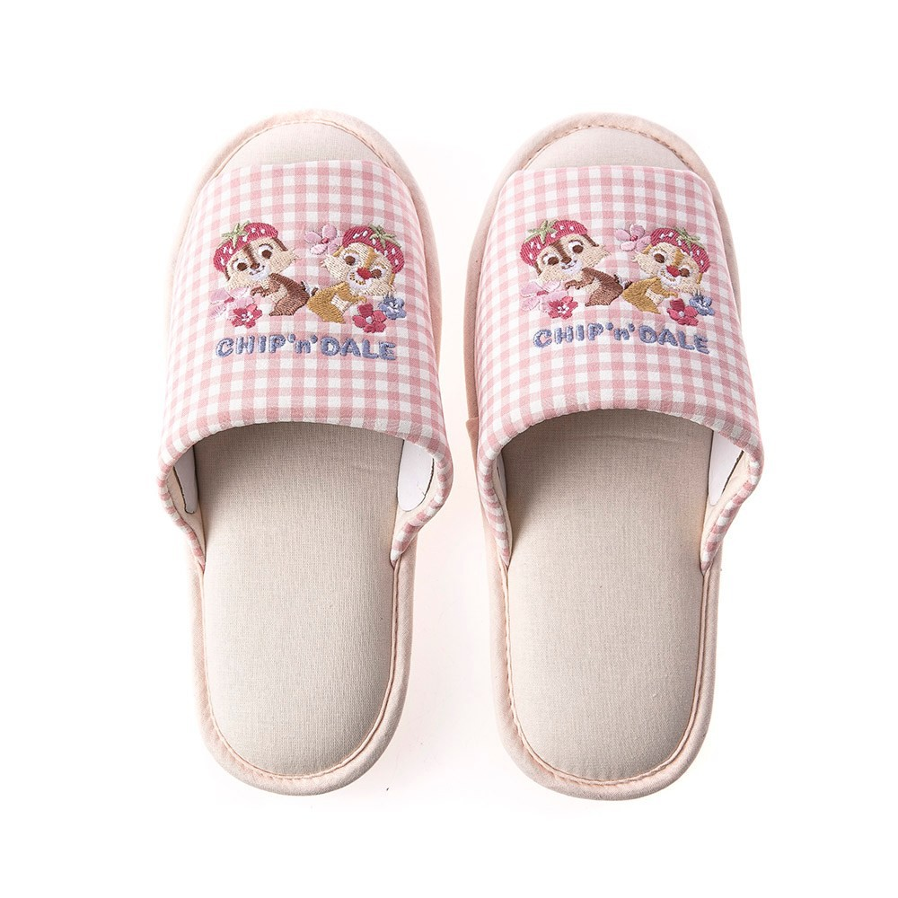 HOLA 迪士尼系列粉萌季刺繡拖鞋-奇奇蒂蒂 M