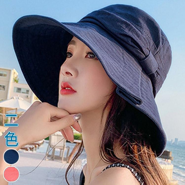 棉褶皺造型寬帽簷淑女帽(2色)【995334W】【現+預】-流行前線-