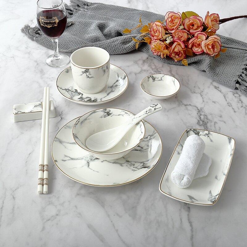 限時特賣 麥兜金邊大理石紋酒店擺臺餐具 中式陶瓷碗碟盤創意餐廳檯面四件套裝