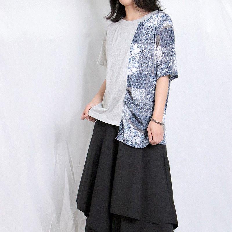 灰藍 - 單邊拼花短袖T#A1131