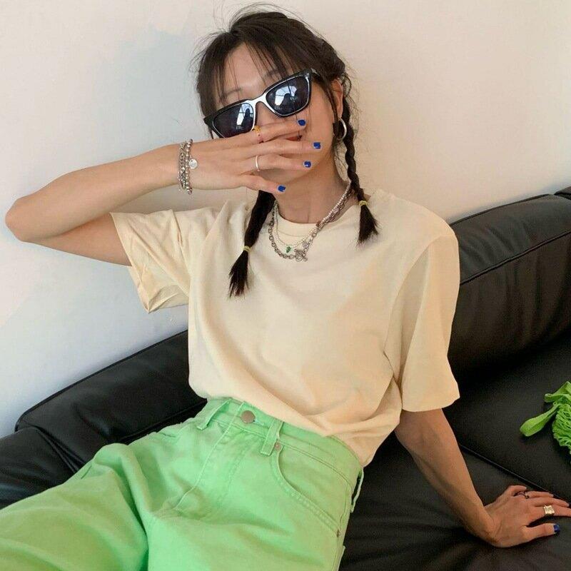 基礎款時尚色系短袖T恤女2021夏季韓版寬鬆簡約休閒上衣潮