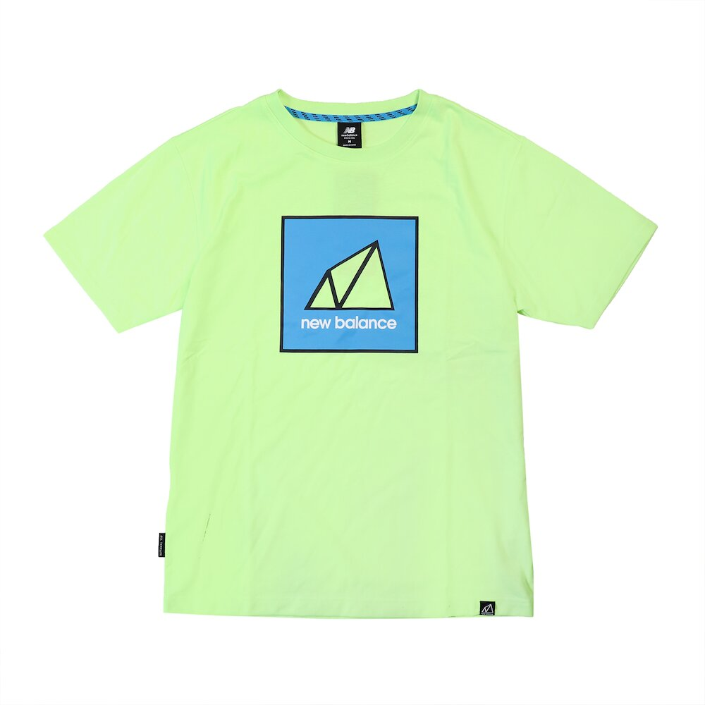 NEW BALANCE T恤 NB Outdoor Logo Tee 男款 紐巴倫 戶外運動 厚磅 穿搭 螢光綠 藍 [AMT11585BIO]