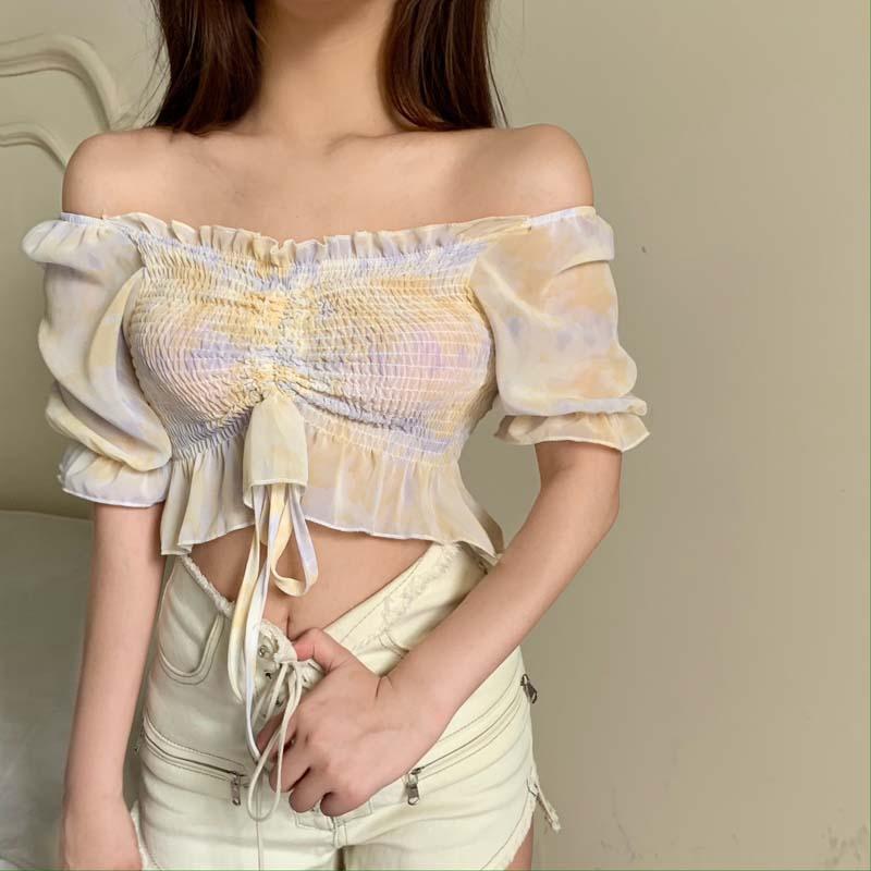 一字領上衣 178013春夏新款甜美百搭露肩褶皺抽繩荷葉邊短款襯衫上衣女