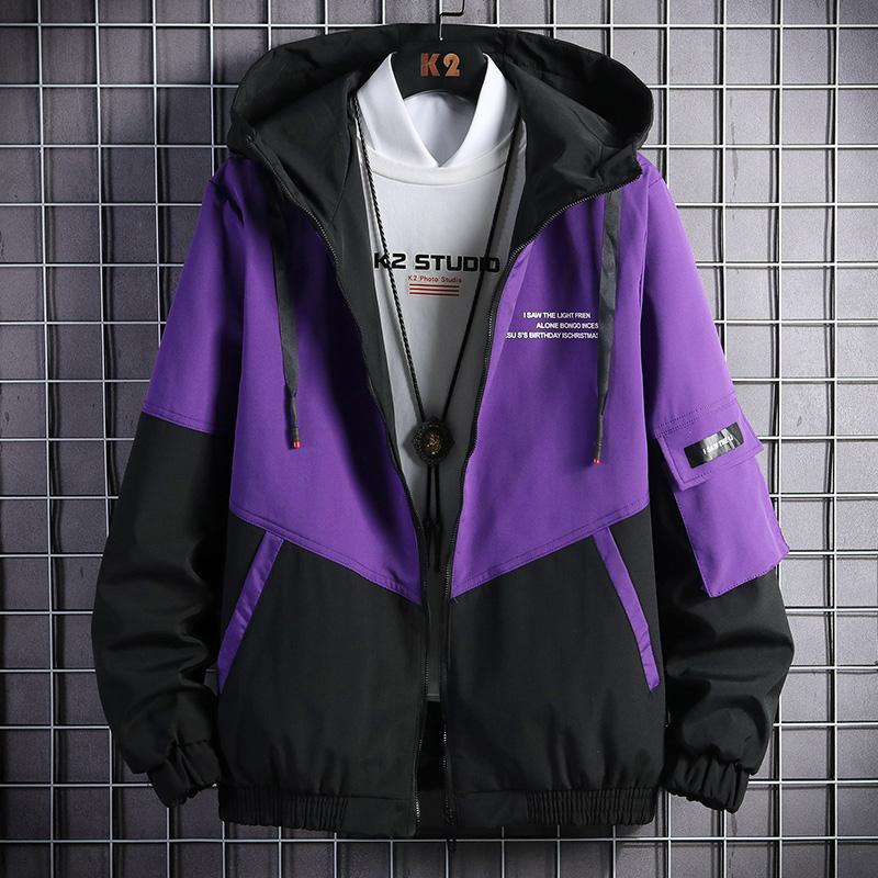 拼接撞色防風外套 / 男女可穿 / 中薄款 / 八色 / M到4XL【QTJC9601】