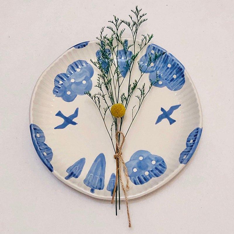 鳥語青雲 / 手作陶瓷餐盤 (20公分)