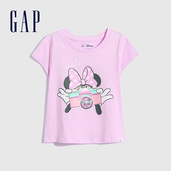 Gap女幼童 Gap x Disney 迪士尼系列純棉短袖T恤 701050-粉色