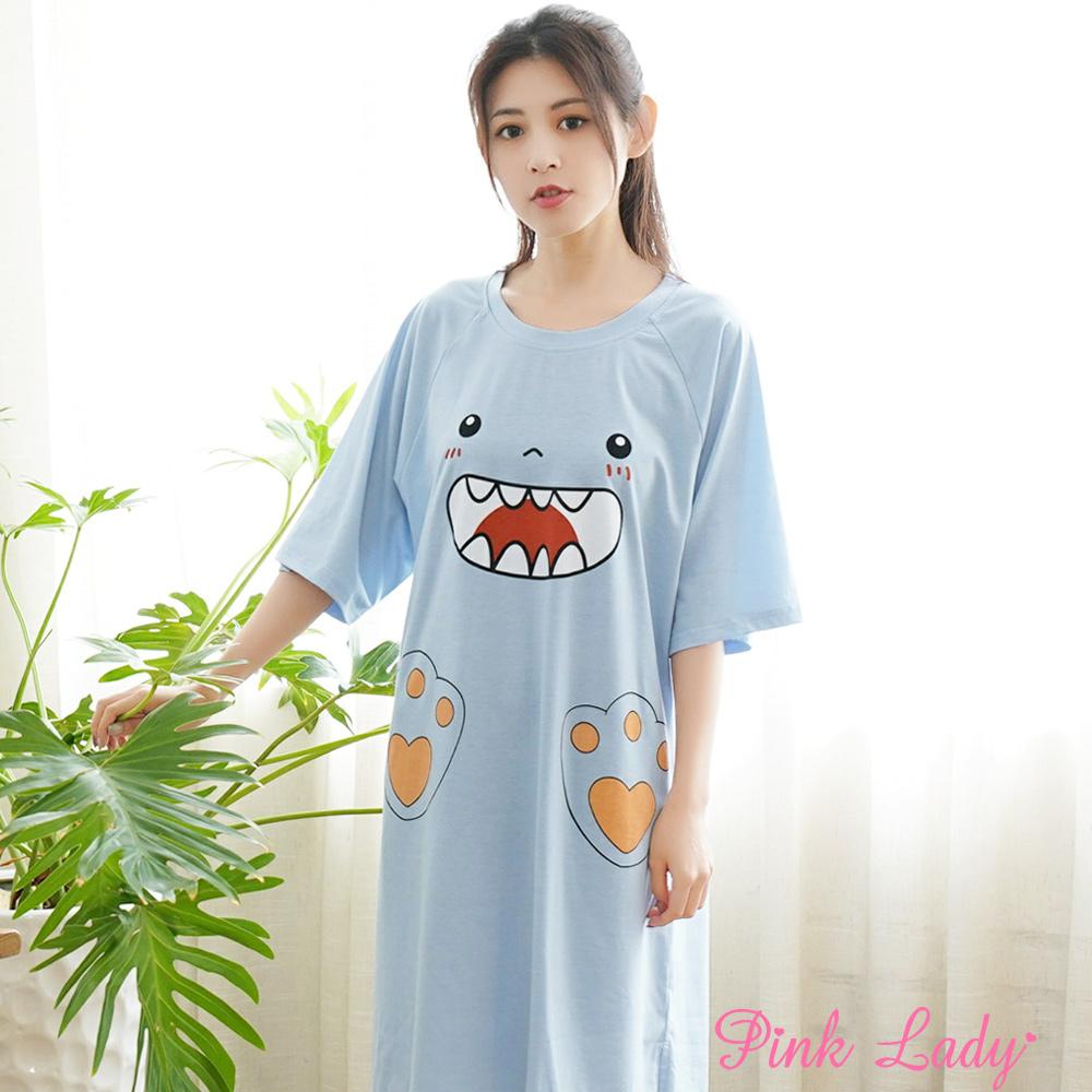 居家棉柔短袖睡裙 可愛怪獸2002(藍)