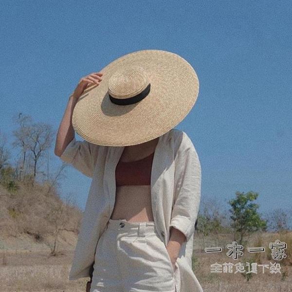 草帽 大沿夏季度假拍照麥稈草系帶編織大帽檐平頂沙灘草帽遮陽帽女防曬-一木一家