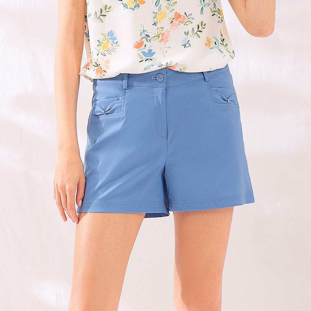 OUWEY歐薇 微光澤斜紋修身短褲(藍)J06872
