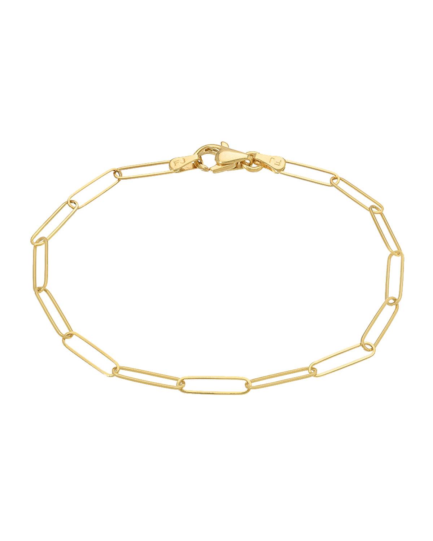 14k Gold Paper Clip Chain Bracelet