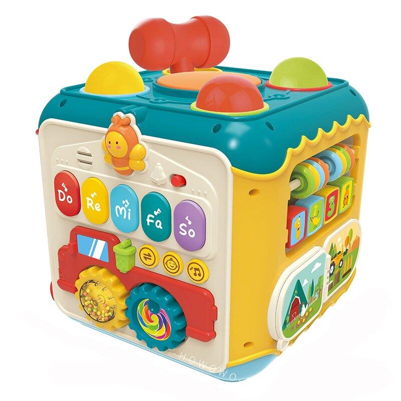 六面音樂盒 多功能手敲琴 六面鼓盒 遊戲盒 拍拍鼓 智慧盒 益智小天地 0533 互動學習盒