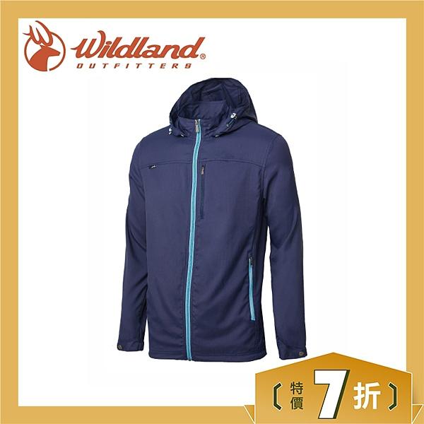 【Wildland 荒野 男 彈性抗UV輕薄外套《深藍》】0A61902-72/彈性透氣/抗UV/可拆帽/登山/外套